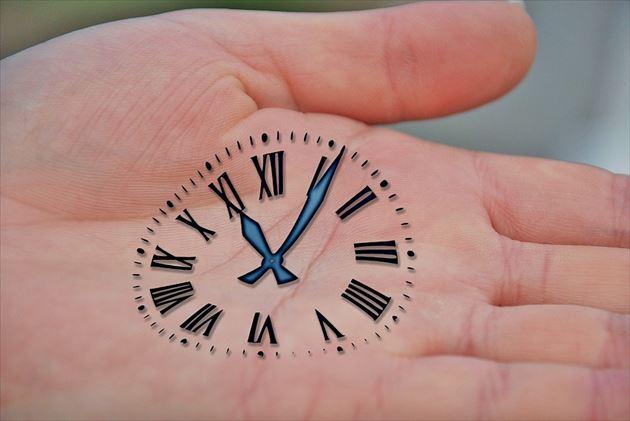 手のひらに描いた時計の文字盤