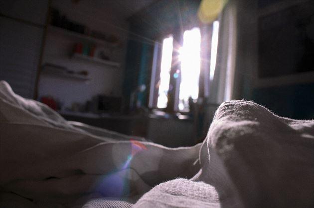 朝の強い太陽光