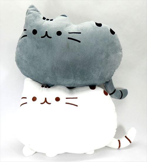 ノーブランド フワフワ 柔らか かわいい ネコ クッション 抱き枕 グレーとホワイト