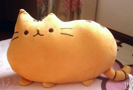 ノーブランド フワフワ 柔らか かわいい ネコ クッション 抱き枕 オレンジ