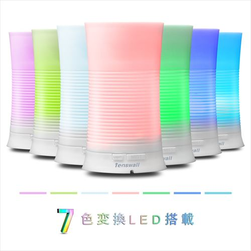 Tenswall「アロマディフューザー 加湿器 超音波式 多色変換LEDライト付き 100ml」