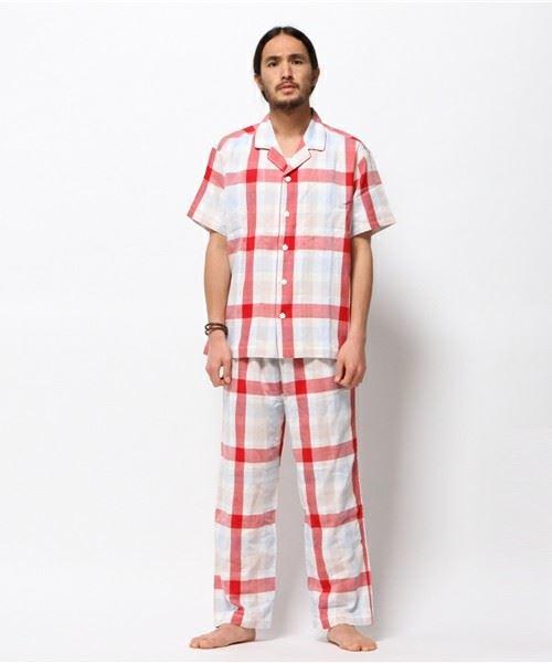 キッドブルー「ダブルガーゼラスターチェック -メンズ開襟パジャマ」
