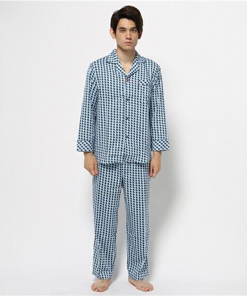 BROS「綿100%のやわらかな幾何柄メンズパジャマ(シャツタイプ)」