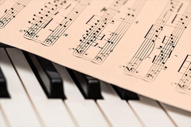 クラシック用のピアノと楽譜の画像