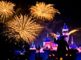 ディズニー音楽がBGMで流れるテーマパークの夜景画像